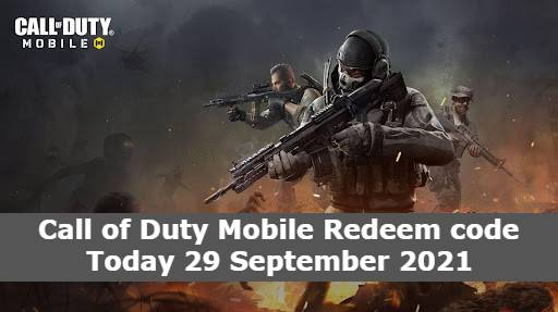 Call of Duty Mobile Redeem code Today 29 September 2021