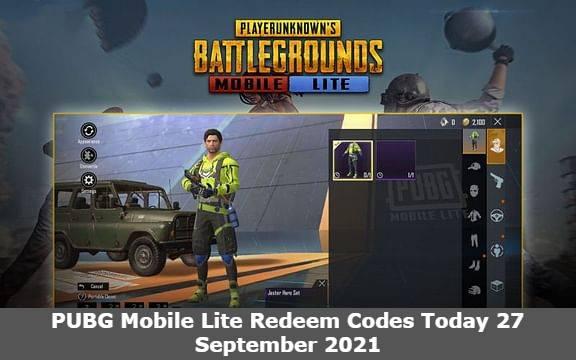 PUBG Mobile Lite Redeem Codes Today 27 September 2021