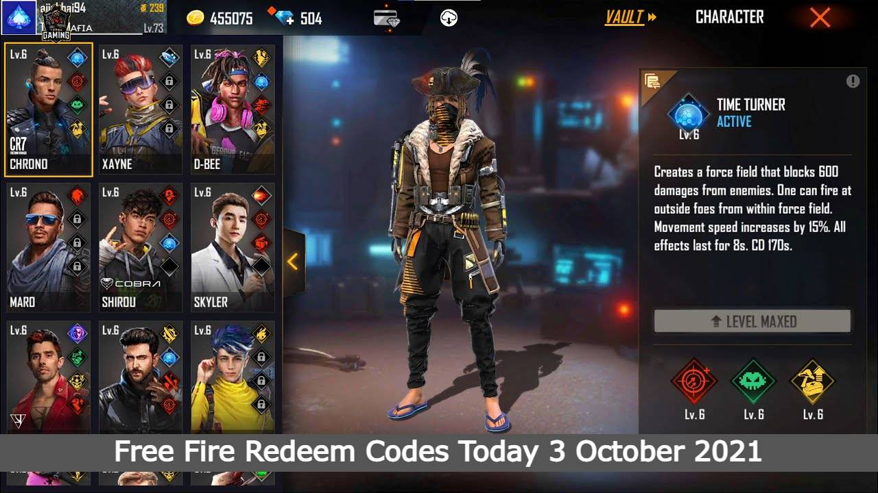 Free Fire Redeem Codes Today 3 October 2021